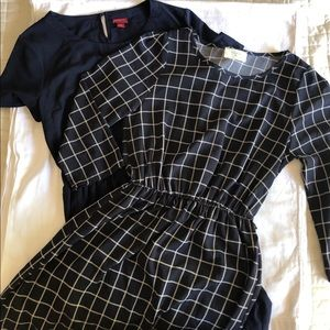 Everly Navy Double Window Pane  Merona Navy Dress